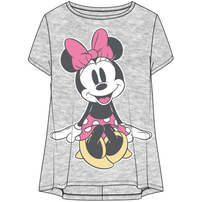Picture of Disney Youth Girls Fashion Hi Lo Top Cute Minnie Seated Pose Heather Gray