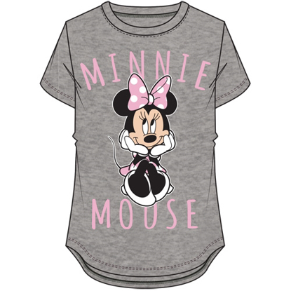 Picture of Disney Youth Girls Sitting Minnie Mouse Hi Lo Top Gray Pink