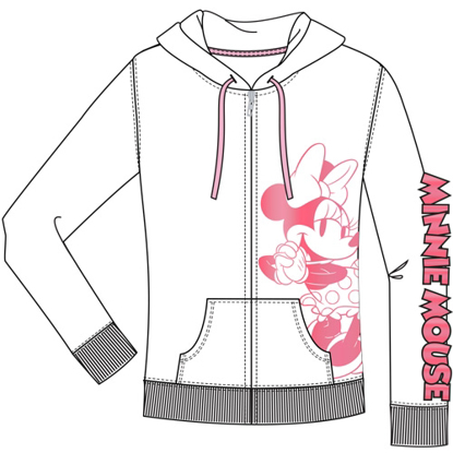 Picture of Disney Junior Zip Up Hoodie Hey There Minnie Pink White