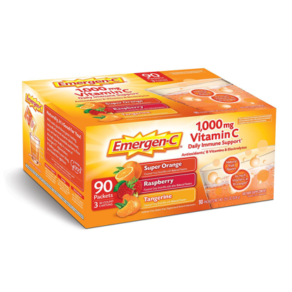 Picture of Emergen-C Variety Pack Dietary Supplement Drink Mix with 1000 mg Vitamin C 3 Flavors 90 ct 32 oz. pks