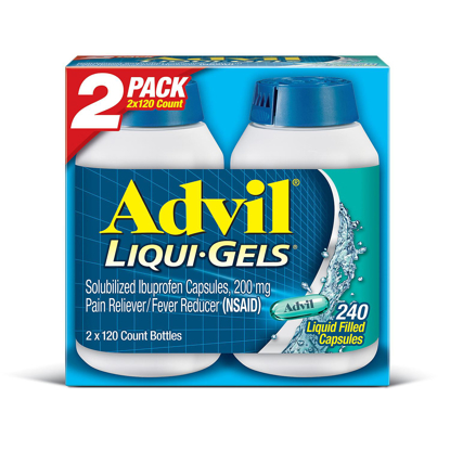 Picture of Advil Liqui Gels Pain Reliever Fever Reducer Liquid-Filled Capsule 200mg Ibuprofen 120 ct 2 pk