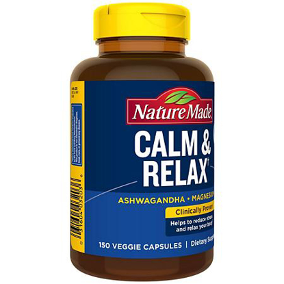 Picture of Nature Made Calm & Relax with 300 mg Magnesium and 125 mg Ashwagandha for Stress Relief 150 ct