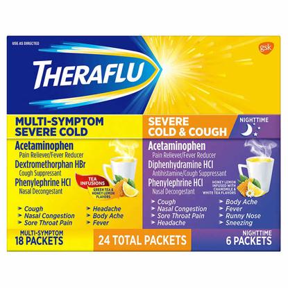 Picture of Theraflu Multi-Symptom + Nighttime Severe Cold & Cough 24 Powder Packets