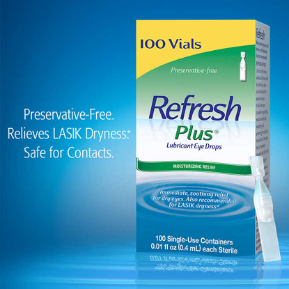 Picture of Refresh Plus Lubricant Eye Drops 100 Single Use Containers