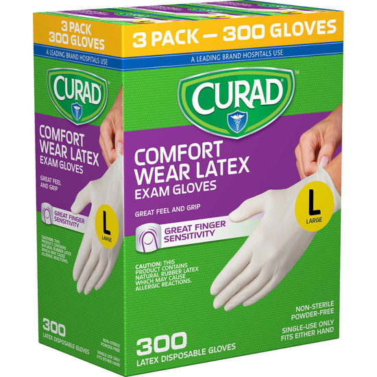 Picture of Curad Comfort Wear Latex Exam Gloves Large 300 ct