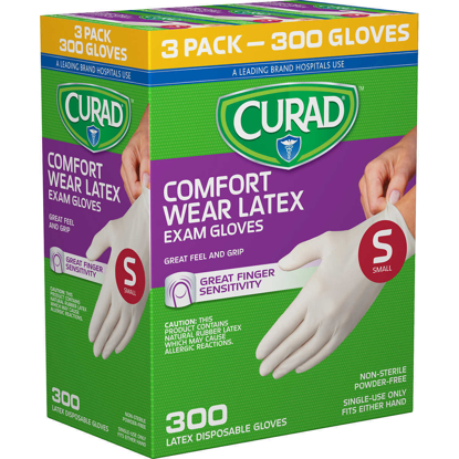 Picture of Curad Comfort Wear Latex Exam Gloves Small 300 ct