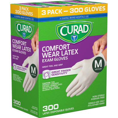 Picture of Curad Comfort Wear Latex Exam Gloves Medium 300 ct