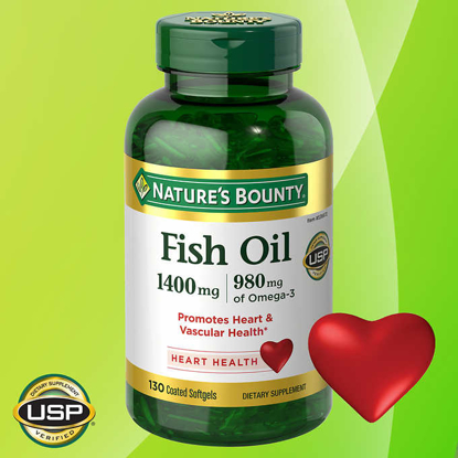 Picture of Nature's Bounty Fish Oil 1400 Mg Odor-less Maximum Strength 130 Coated Soft gels