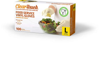 Picture of Clear Touch Food Service Vinyl Gloves Large 100 Count