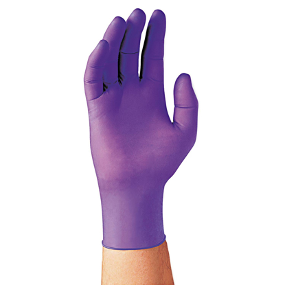 Picture of Blue Nitrile Examination Gloves Non Latex Powder Free Multi-purpose Disposable Large Pack of 100
