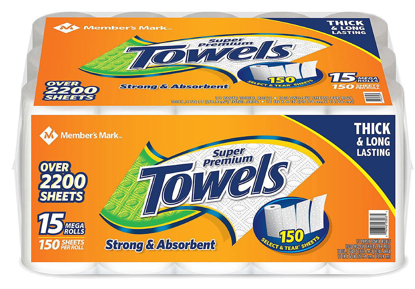 Picture of Member's Mark Super Premium Individually Wrapped Paper Towels 15 rolls 150 sheets per roll