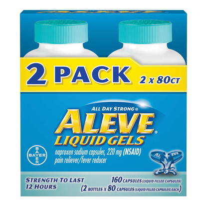 Picture of Aleve Naproxen Sodium 220 mg Pain Reliever Fever Reducer 160 Liquid Gels