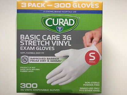 Picture of Curad Basic Care 3G Vinyl Exam Gloves Small 300 ct