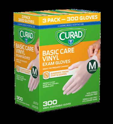 Picture of Curad Basic Care Vinyl Exam Gloves Medium 300 ct