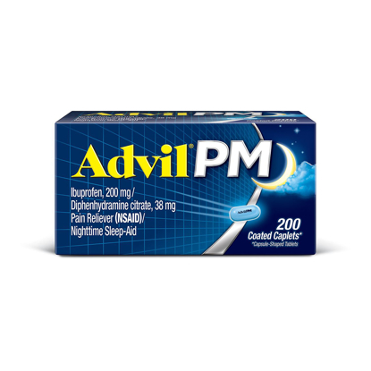 Picture of Advil PM Pain Reliever Nighttime Sleep Aid Caplet 200 mg Ibuprofen & 38 mg Diphenhydramine 200 ct