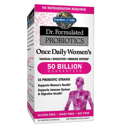 Picture of Garden Of Life Dr. Formulated Once Daily Women Probiotic 50 Billion Cfu 30 Shelf Stable Capsules Gluten Dairy & Soy Free Prebiotic Fiber Digestion Support Supplement No Refrigeration