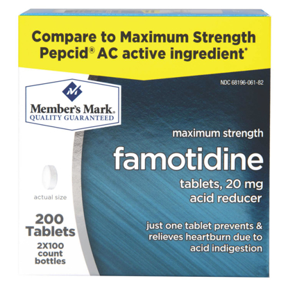 Picture of Member's Mark 20 mg Famotidine Acid Reducer 200 ct