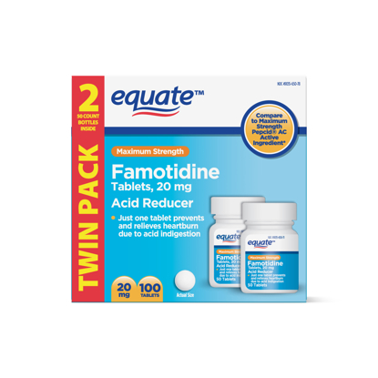 Picture of Equate Maximum Strength Famotidine Tablets 20 mg Acid Reducer for Heartburn Relief 100 Count