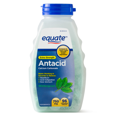 Picture of Equate Extra Strength Antacid Chewable Wintergreen Tablets 750 mg 96 Ct