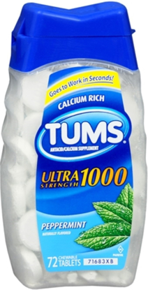 Picture of Tums Ultra Strength 1000 Antacid Chewable Tablets Peppermint 72 Ct