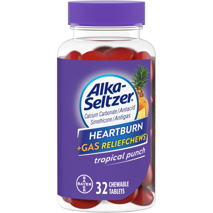 Picture of Alka Seltzer Heartburn Gas Relief Chews Tropical Punch 32 Count