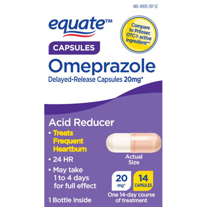 Picture of Equate Omeprazole 14 Day Course Delayed-Release Acid Reducer Capsules 20mg