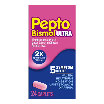 Picture of Pepto Bismol 5 Symptom Stomach Relief Caplets 24 Ct