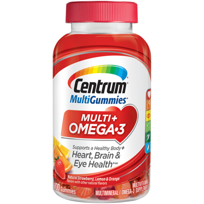 Picture of Centrum Adult Multi Gummies Multi Omega 3 100 Count Natural Strawberry Lemon Orange Flavors Multivitamins Multimineral Supplement Gummy Vitamins D3 B Antioxidants