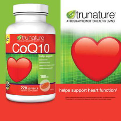 Picture of Trunature CoQ10 100 mg Coenzyme Q-10 Heart Antioxidant 220 Softgels