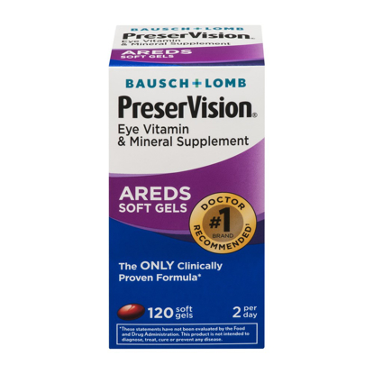 Picture of Bausch & Lomb PreserVision Eye Vitamin & Mineral Supplement 120 Ct Soft Gels