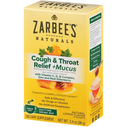 Picture of Zarbee's Naturals Cough & Throat Relief + Mucus Daytime Drink Mix with Dark Honey Vitamin C D B-Complex Zinc and Real Elderberry Natural Lemon Flavor