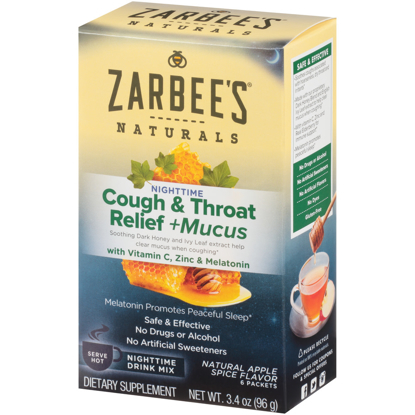 Picture of Zarbee's Naturals Cough & Throat Relief + Mucus Nighttime Drink Mix with Dark Honey Vitamin C Zinc & Real Elderberry Natural Apple Spice Flavor 6 Packets
