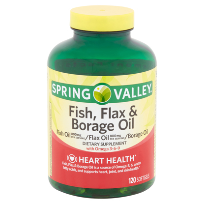 Picture of Spring Valley Fish Flax & Borage Oil Softgels 120 Count