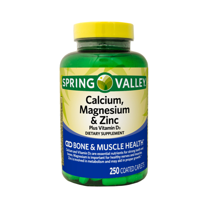 Picture of Spring Valley Calcium Magnesium & Zinc plus Vitamin D3 Coated Caplets 250 Count