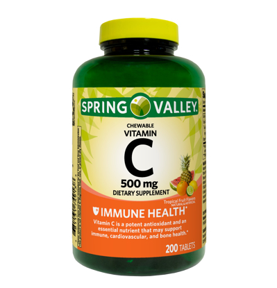 Spring Valley Vitamin C Chewable Tablets Tropical Fruit Flavors 500 mg 200 Count