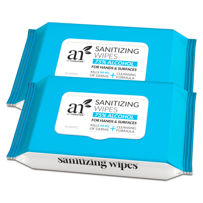 ArtNaturals Hand Sanitizing Wipes Portable Hand Sanitizer Wipes Unscented Keep Hands Hygienic 2 Pack  50PCS