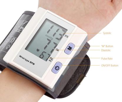 Wrist Fully Automatic Blood Pressure monitor Cuff  Digital  BP-201M