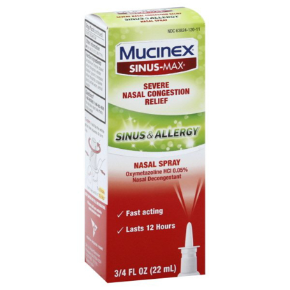 Mucinex Sinus & Allergy Fast Acting Nasal Congestion Relief Spray, Fast Acting 12 Hour Severe Nasal Congestion Relief