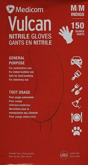 Picture of Medicom Vulcan Nitrile Gloves Latex-Free General Purpose Indigo Color Medium 150 Count