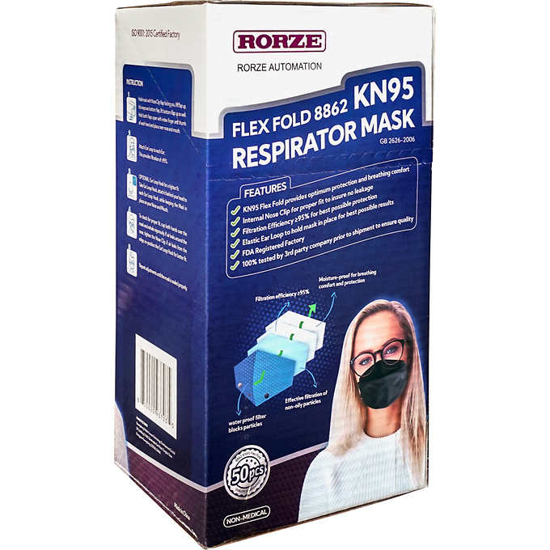 NEW Rorze Flex Fold KN95 Respirator Face Mask Single Use One Size Black 50 ct