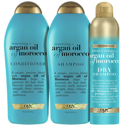 OGX Renewing + Argan Oil of Morocco Shampoo, Conditioner and Dry Shampoo Bundle