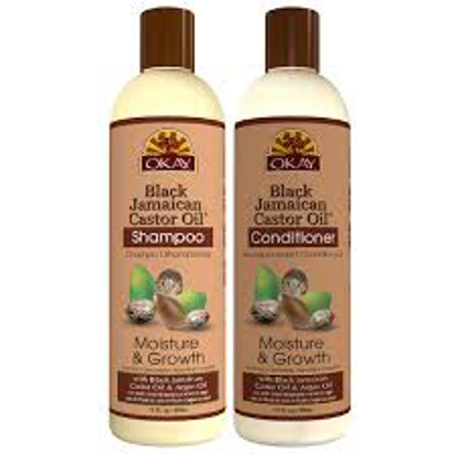 OKAY Black Jamaican Castor Oil Moisture Growth Shampoo and Conditioner - Sulfate, Silicone, Paraben Free 12 oz. 2pk.
