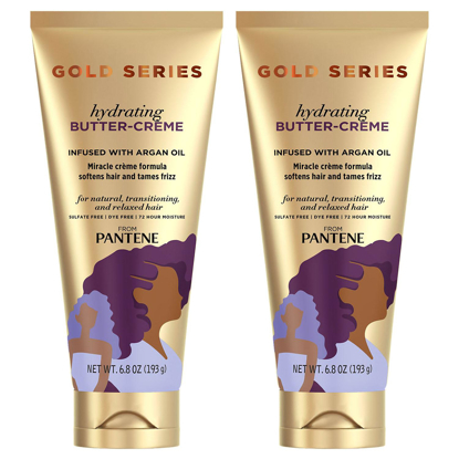 Pantene Gold Series Sulfate-Free Hydrating Butter Cream with Argan Oil for Curly & Coily Hair  6.8 oz. 2 pk.