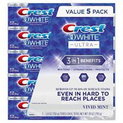 Crest 3D White Ultra Whitening Toothpaste, Vivid Mint 5.6 oz. 5 pk.