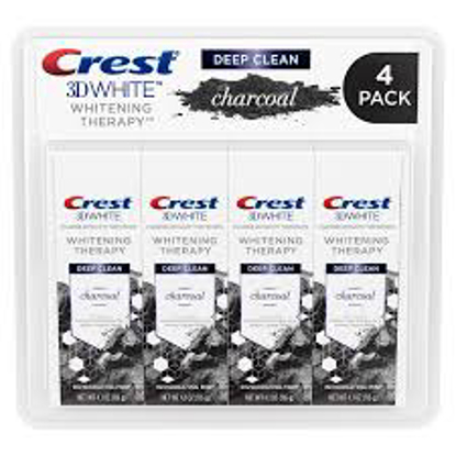 Crest 3D White Whitening Therapy Charcoal Deep Clean Fluoride Toothpaste, Invigorating Mint 4.1 oz. 4 pk.