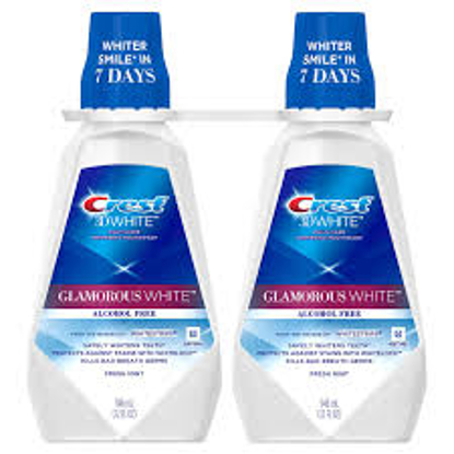 Crest 3D White Glamorous White Alcohol Free Whitening Mouthwash, Fresh Mint 32 fl. oz. 2 pk.
