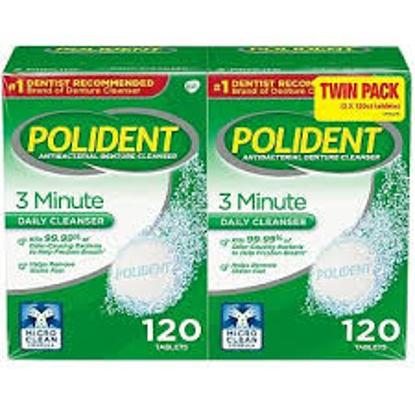 Polident 3 Minute Triple Mint Antibacterial Denture Cleanser Effervescent Tablets 240 ct.