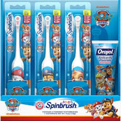 Arm & Hammer Kid's Spinbrush Paw Patrol Electric Toothbrush 3 pk with Orajel Anticavity Fluoride Toothpaste 4.2 oz.