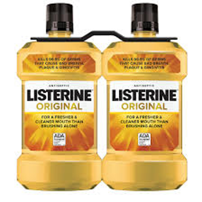 Original Listerine Antiseptic Mouthwash to Freshen Breath and Kill Germs 2 pk 1.5L
