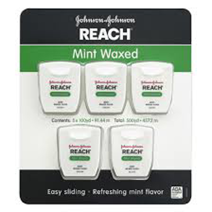Johnson & Johnson Reach Mint Waxed Dental Floss 5 pk. 100 yds